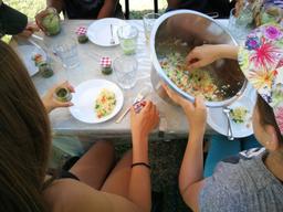 Cuisine dans le potager bio